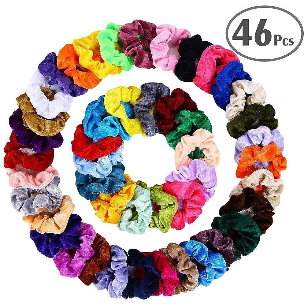 Hair Scrunchies Velvet Elastic Hair Bands Scrunchy Hair Ties Ropes Scrunchie for Women or Girls Hair Accessories - 46 Assorted Colors Scrunchies