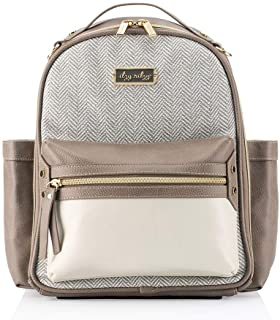 Itzy Ritzy Mini Diaper Bag Backpack – Chic Mini Diaper Bag Backpack with Vegan Leather Changing Pad, 8 Total Pockets (4 Internal and 4 External), Grab-Top Handle and Rubber Feet, Vanilla Latte