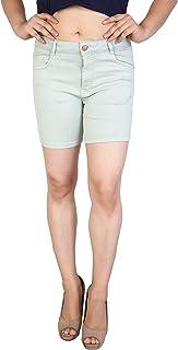 FCK-3 White Colored Strechable Denim Shorts for Women