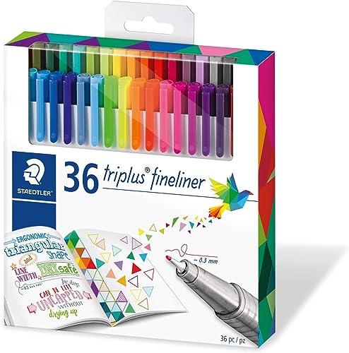 Staedtler Triplus Fineliner, Feutres à pointe extra-fine pour écriture et contours, Boîte en carton avec 36 couleurs ...