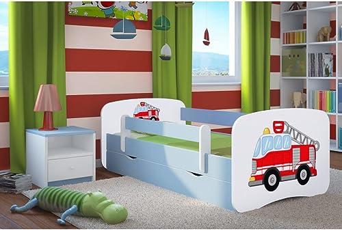 CARELLIA 'Kinderbett Feuerwehrmann 80 180cm   mit Barriere Sicherheitsschuhe + Lattenrost + Schubladen + Matratze Ofürt. Blau