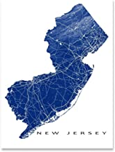 New Jersey Map Art Print, NJ State Outline, USA Poster, Jersey City, Newark