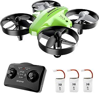 ATOYX Mini Drone, AT-66C RC Drone Niños 3D Flips, Modo sin Cabeza, Estabilización de Altitud, 3 Modos de Velocidad, 4 Canales 6-Ejes, 2 Baterías, Regalo para Niños y Principiantes (Verde)