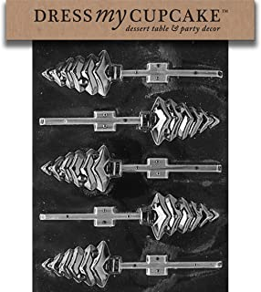 Dress My Cupcake DMCC035 Chocolate Candy Mold, Christmas Tree Lollipop