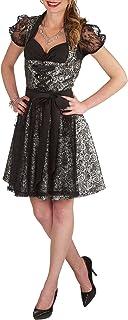 Andrea Moden Andrea Moden Gothic Dirndl 3tlg. Kleid Bluse Schürze 50cm Rockteil zum Oktoberfest Karneval schwarz Silber - 36