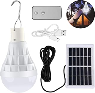 Lámpara Solar Portátil Bombilla de LED Solar Portatil, TechKen Luz Solar para Interior Exterior, Luz de Emergencia Senderismo Tienda Camping Luz de Trabajo Nocturna