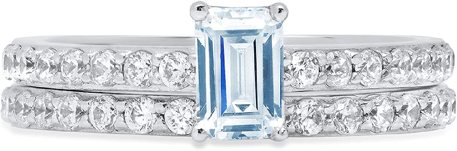 Clara Pucci 1.41ct Emerald Round Cut Pave Solitaire Accent Genuine Flawless Natural Sky Blue Topaz Engagement Promise Statement Anniversary Bridal Wedding Ring Band set Solid 18K White Gold