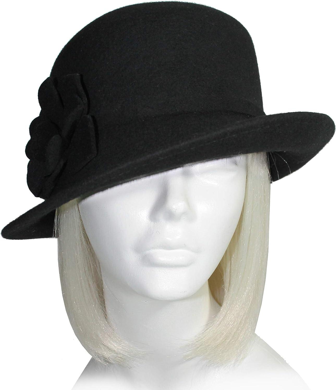 Mr. Song Millinery Softest Felt Bucket Fedora Cloche Hat with Bias Brim  Black FH129