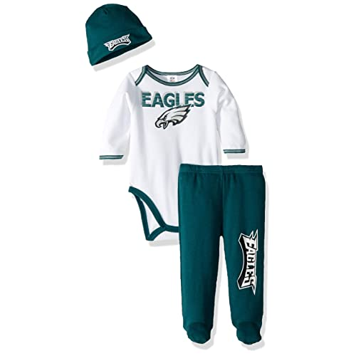 65a2706999d NFL Philadelphia Eagles Unisex-Baby Bodysuit, Pant, Cap Set, Green, 0