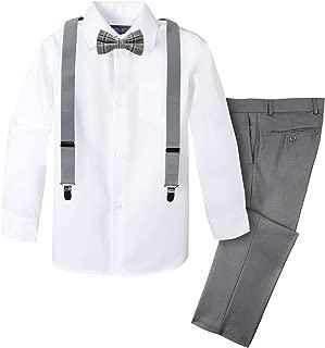 Boys' 4-Piece Plaid Suspender Outfit