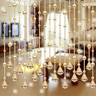 Retro Emptystyar Door Curtain Screen String for Doorways Divider or Window Curtain Panel Crystal Glass Beads Lamp Chain Chandelier Decoration for Wedding Home and DIY Jewelry Making 1M One Strand
