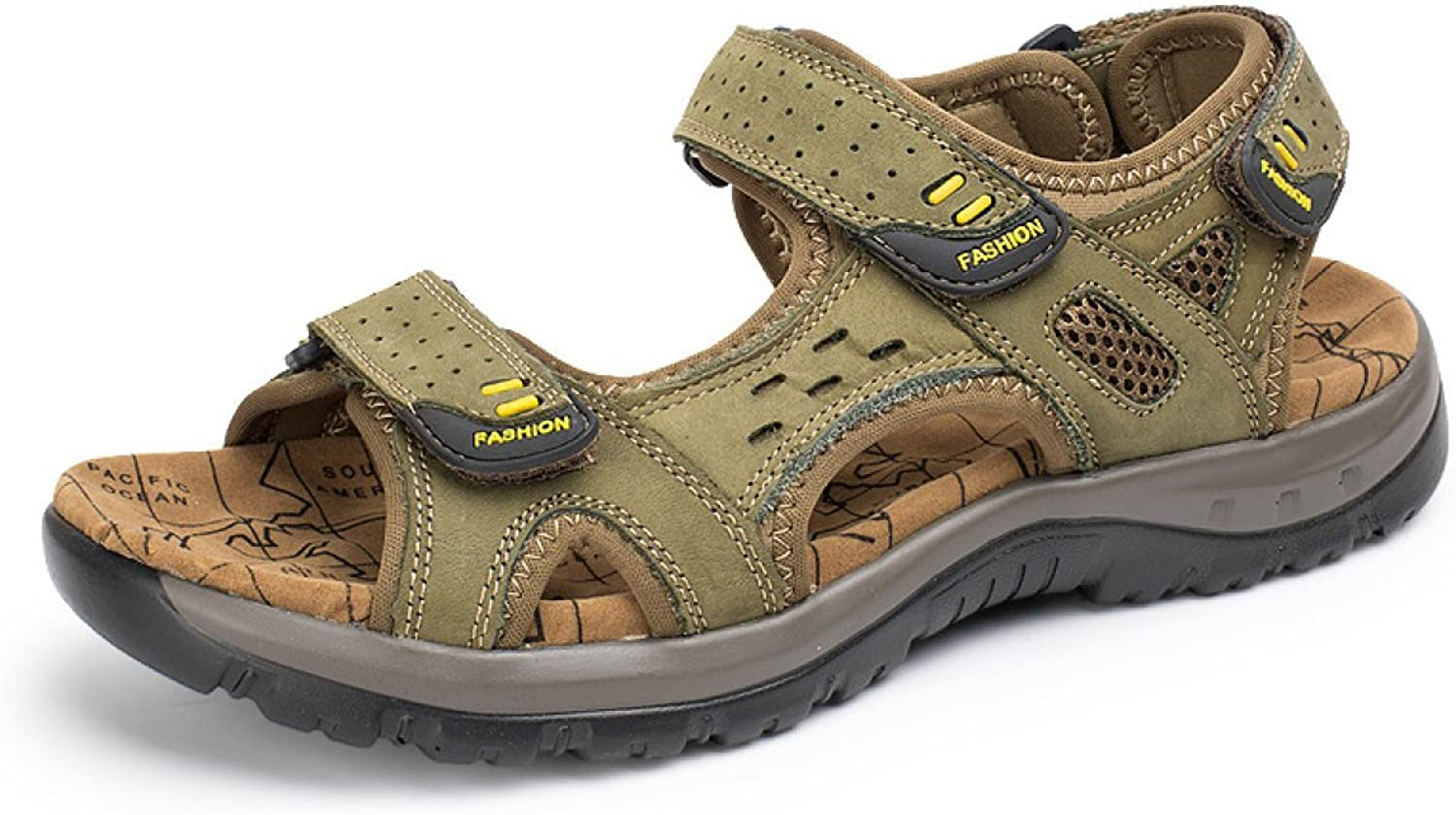LXXAMens Summer Beach Light Weight Outdoor shoes Velcro Real Leather Sports Sandals Athletic Sneakers