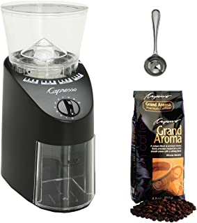 Capresso 560.01 Infinity Conical Burr Grinder (Black) with 1-lb. of Whole Bean Coffee Accessory Bundle