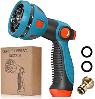 Sponsored Ad – Garden Hose Nozzle- 10 Adjustable Patterns High Pressure Spray Gun, Hose Pipe Spray Gun with Thumb Control ...