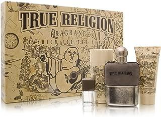 TRUE RELIGION by True Religion Gift Set for MEN: EDT SPRAY 3.4 OZ & HAIR AND BODY WASH 3 OZ & DEODORANT STICK 2.75 OZ & EDT SPRAY .25 OZ MINI