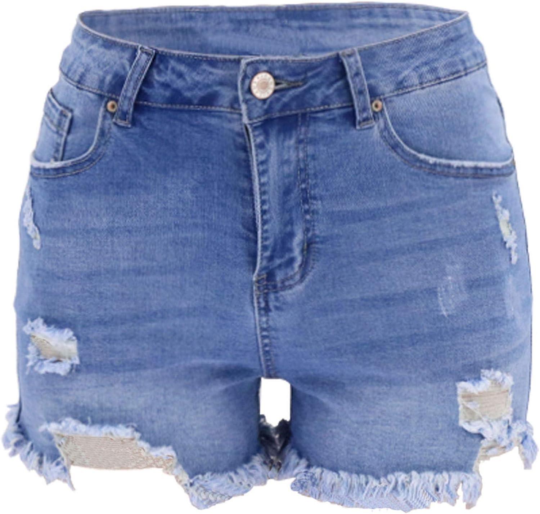 MASZONE Denim Shorts for Women,Womens Casual Denim Shorts Frayed Raw Hem Ripped Jeans Shorts High Waist Slim Hole Jeans