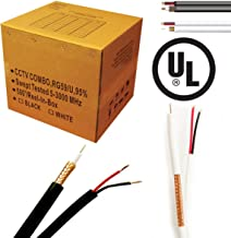 Economical RG-59/U Siamese cable. 500FT, 18/2AWG POWER cable, 20AWG COAX Cable, Black Color