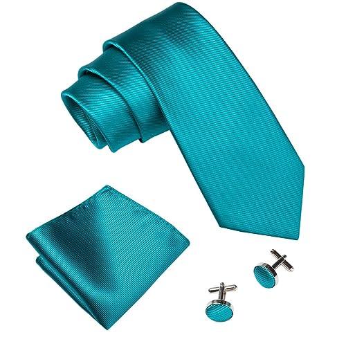 a53fa07f8b1b Wang Men Ties Solid Handkerchief Cufflinks Necktie Set Wedding Business