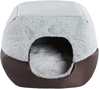 Hollypet Crystal Velvet Self-Warming 2 in 1 Foldable Cave House Shape Nest Pet Sleeping Bed for Cats and Small Dogs Suitable for Indoor or Outdoor