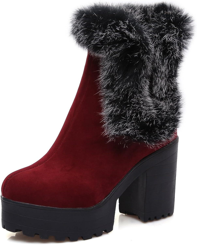 DoraTasia Women's Suede Nubuck Faux Fur Platform Winter Wear Chunky Heel Boots