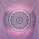 momomus Arazzo Mandala - Colorato - 100% Cotone, Grande, Multiuso - Telo Mare Antisabbia Matrimoniale, Leggero, XXL - Pareo - Teli Mare Grandi, Lilla, 210x230 cm