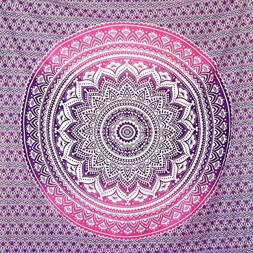 momomus Tapiz Mandala Colorido- 100% Algodón, Grande, Multiuso - Pareo/Toalla de Playa Gigante - Manta de Picnic Ligera o Alfombra Antiarena XXL - Lila, 210x230 cm