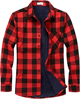 Chouyatou Men's Casual Long Sleeve Fleece Lined Plaid Flannel Buttoned Overshirts Jacket Shacket