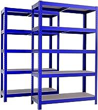 Étagère de rangement polyvalente en métal (lot de 2) Charge lourde Max 875kg - 180 x 90 x 45 cm - Bleu