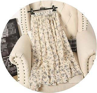 Simply Q Faldas de Verano para Mujer, Estilo Coreano, largas, con Estampado Floral, de Gasa.
