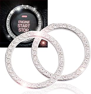 EJ's SUPER CAR Crystal Rhinestone Car Bling Ring Emblem Sticker, Crystal Rhinestone Bling Car Accessories Auto Start Engine Ignition Button Key & Knobs, Bling Car Interior(2 Pack)…