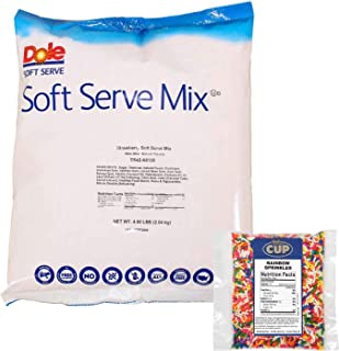 Dole Strawberry Lactose-Free Soft Serve Mix 4.5 Pound Bulk Bag with By The Cup Rainbow Sprinkles