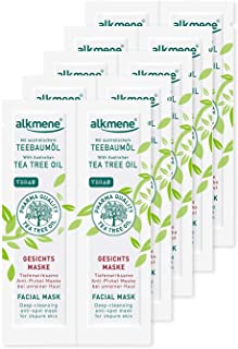 alkmene Teebaumöl Anti Pickel Gesichtsmaske - Tiefenwirksame Gesicht Maske bei unreiner Haut - vegane Gesichtsreinigung ohne Silikone, Parabene & Mineralöl - Gesichtsmasken im 10er Pack 10x 6 ml