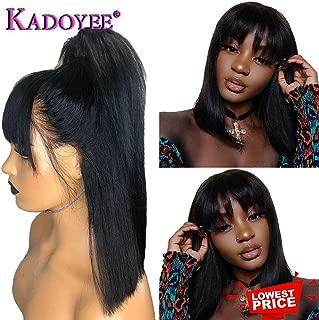 8a Brazilian Human Hair Short Bob Straight Hair Wigs with Flat Bangs Unprocessed Virgin Hair Real Hair Wigs Shoulder Length Bob Style for Black Women Natural black 14in 130% Density Kadoyee Hair