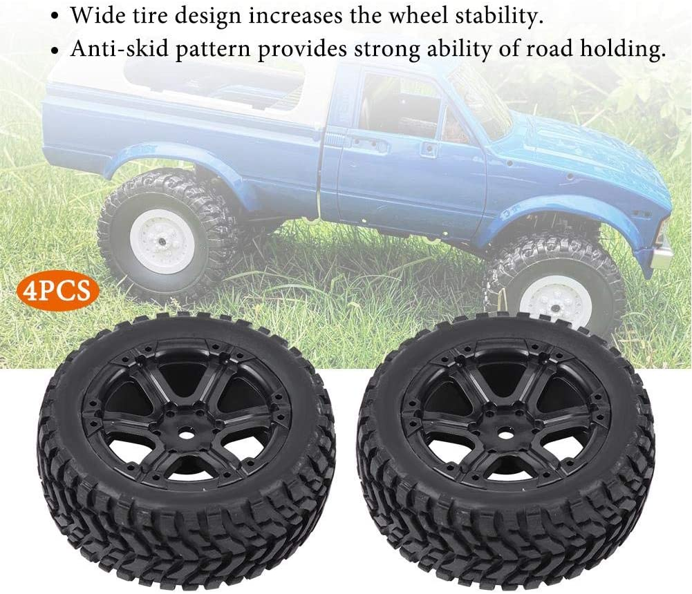 7 Holes Zouminy 4pcs//Set Military Truck Rubber Tires Tyres for WPL C14 C24 Remote Control Crawler RC Car