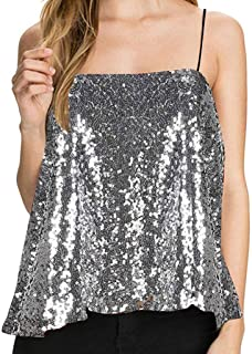 Women V-neck Sequin Tank Tops, Ladies Solid Sleeveless Strap Backless Sexy Party Vest Top