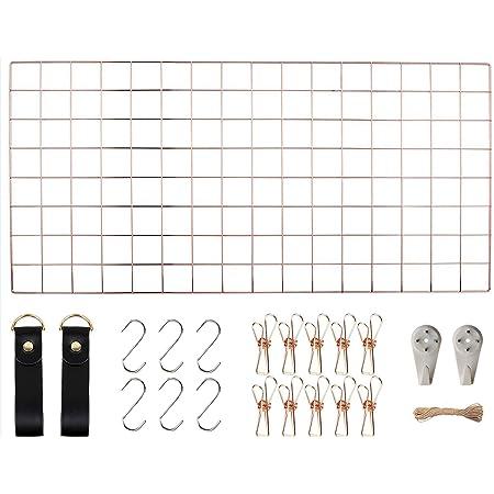 WUZILIN - Estante de Rejilla de Pared para Manualidades, de Hierro, para Colgar Fotos en el tablón de Notas, en la Familia, Cocina, Oficina, etc. (40 x 80 cm)…