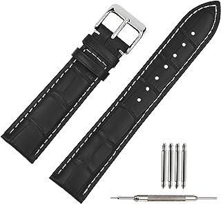 TStrap Montre Bracelet en Cuir 20mm - Noir Bande en Cuir de Veau pour Homme Femme - Bracelet de Montre Remplacement avec B...