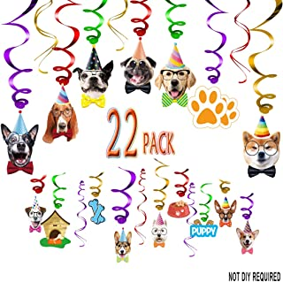 Dog Birthday Hanging Swirl Decor Garland Dog Theme Cupcake Toppers Bday Decor Party Supplies for Girl Boy Kids