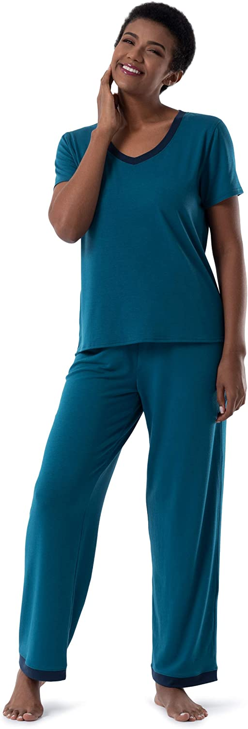 Fruit of Large-scale sale the Loom Women's Short Super-cheap Sleeve Slee Pant 2 and Piece Tee