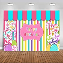 Mocsicka Candy Girl Birthday Backdrop 7x5ft Vinyl Candy Shop Colorful Stripes Happy Birthday Banner for Girl Sweet Shoppe Dessert Table Patisserie Photography Background