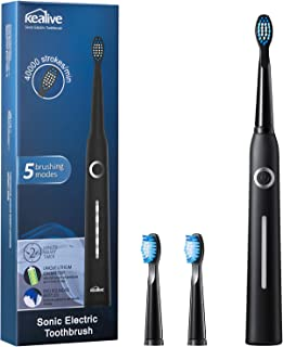 Sonic Electric Toothbrush, Kealive Ultra Whitening Powered Toothbrush with 5 Optional Modes, 2 Mins Smart Timer, 40,000 VPM Motor, USB Fast Charging Travel Toothbrush with 3 W Replacement Heads, Black