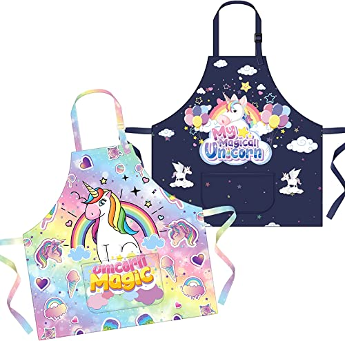 high quality Secura Kids wholesale Apron, popular Rainbow Unicorn Aprons with Pockets for Girls Boys Children Kitchen Apron for Cooking Baking Painting online sale