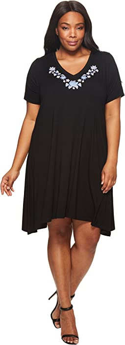 Karen Kane Plus Plus Size Embroidered Handkerchief Dress