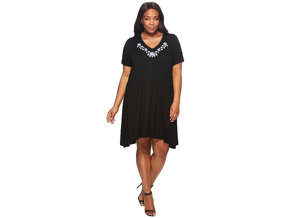 Karen Kane Plus Plus Size Embroidered Handkerchief Dress (Black) Women