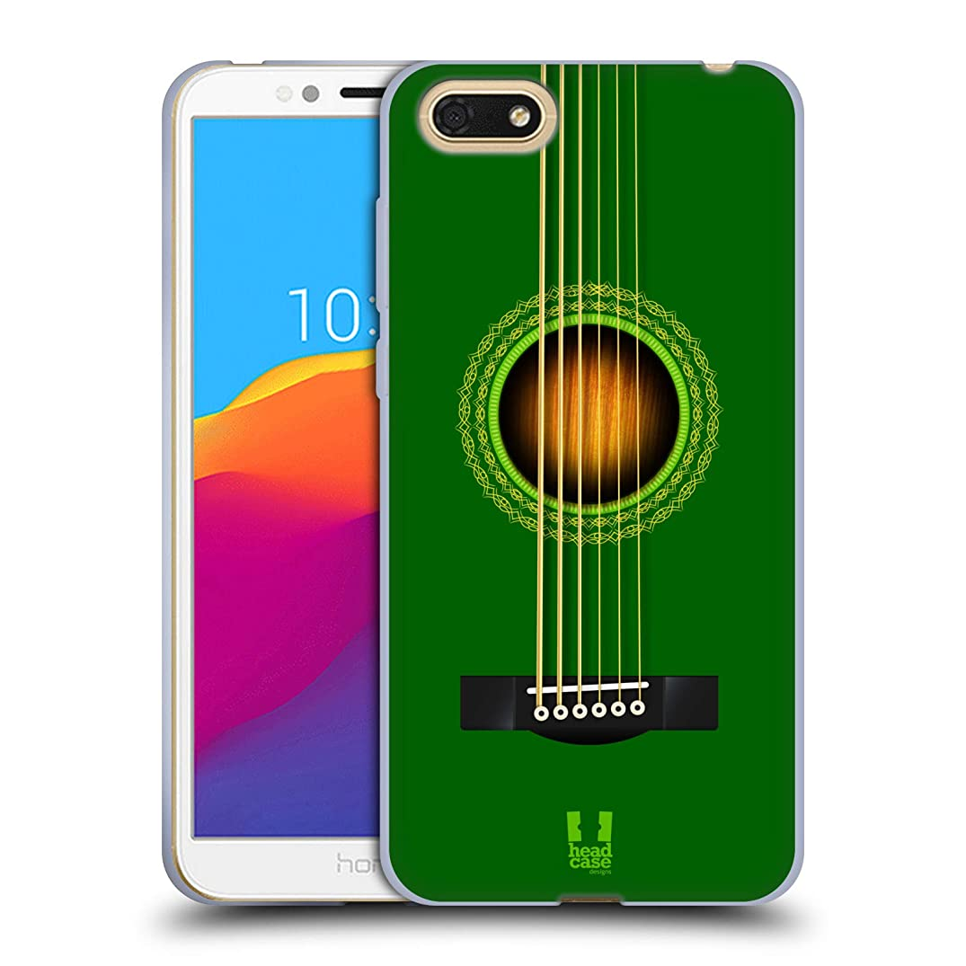 Head Case Designs Green Acoustic Guitar Soft Gel Case for Huawei Honor 7s / Y5 Prime (2018)