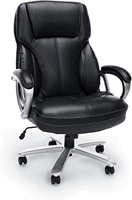 OFM ESS Collection Big and Tall Leather Executive Office Chair, with Arms, Black