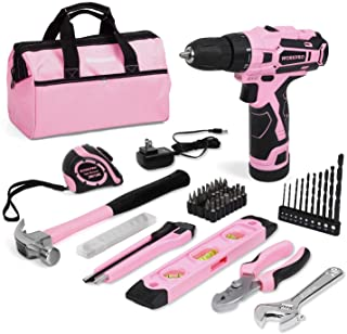 WORKPRO 12V Pink Cordless Drill and Home Tool Kit, 61 Pieces Hand Tool for DIY, Home Maintenance, 14-inch Storage Bag Incl...
