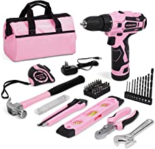WORKPRO 12V Pink Cordless Drill and Home Tool Kit, 61 Pieces Hand Tool for DIY, Home Maintenance, 14-inch Storage Bag Included - Pink Ribbon