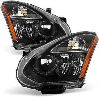 VIPMOTOZ Black Housing OE-Style Headlight Lamp Assembly For 2008-2013 Nissan Rogue Halogen Model, Driver & Passenger Side