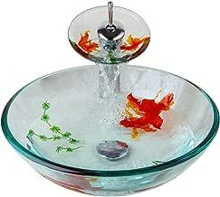 Bathroom Art Hand Painting Gold Fish Glass Basin Vanity Vessel Sink Bowl Tap+Waterfall Faucet kit,bathroom sink vanity